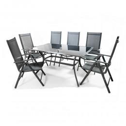 طاولة مستطيلة 6 كرسي   خارجيةالمنيوم و زجاج