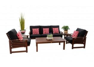 جلسة خارجية خشب صوفا 3 مقعد  2 كرسي مفرد طاولة
