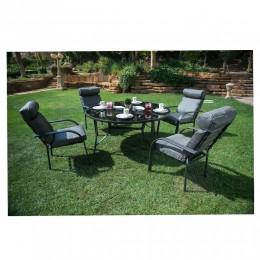 طاولة مربعة +4 كرسي المنيوم