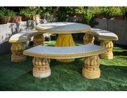 طقم حديقة مكون من 3 مقاعد حجريه كبيرة