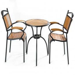 جلسة انيقة من الخشب والمعدن 2 كرسي