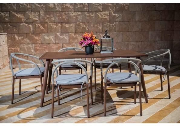 Aluminum Dining Table With 6 Seats