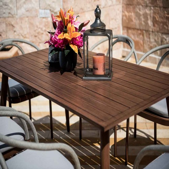 طاولة طعام المنيوم مع 6 مقاعد