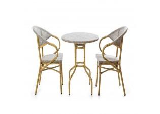 طاولة المنيوم  بتصميم البامبو صغيرة لشخصين