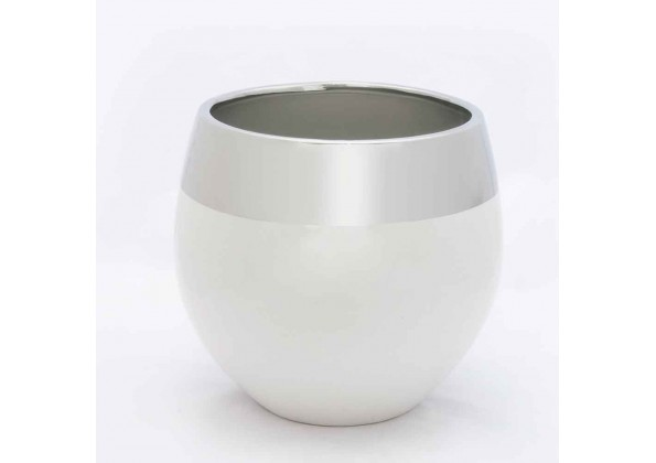 White Pot With Silver Colored Edges