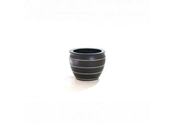 Pot With A Stripped Black Color And Beige Color