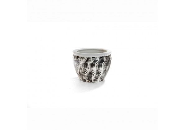 Pot With A Stripped Black Color And White Color