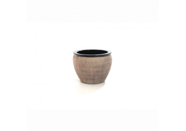 Pot With A Brown Color And Black Edge
