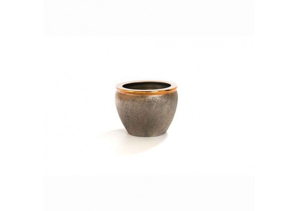 A Bronze Colored Planter With A Golden Edge