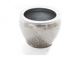 An Engraved Planter With Silver Edges