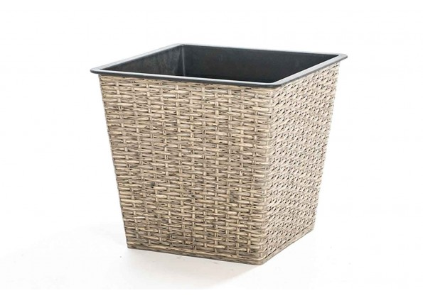 A Plastic Square Planter With Wicker Textile Shape