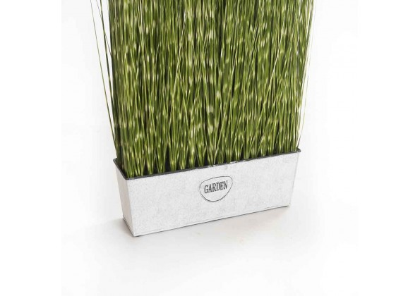 An Artificial Plant With A Rectangle Metal Planter