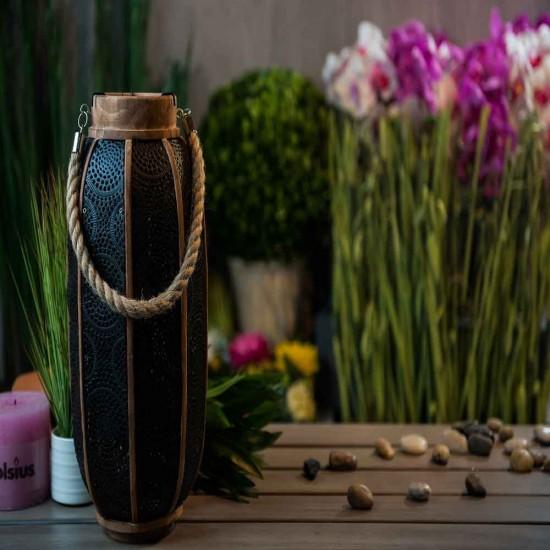 حامل شموع ديكوري بشكل الخشب مشغول بالون الأسود