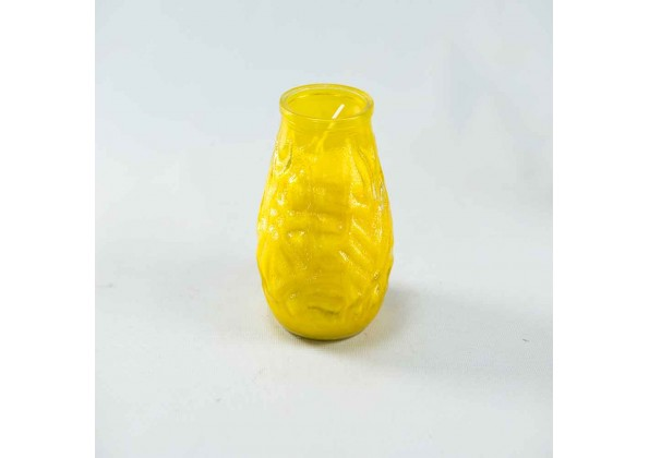 Candle With A Yellow  Jar