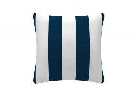 A blue And White Striped Cushion