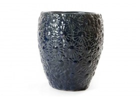 Blue Engraved Ceramic Pot