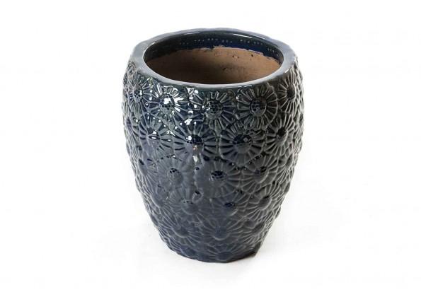 Blue Engraved Ceramic Pot