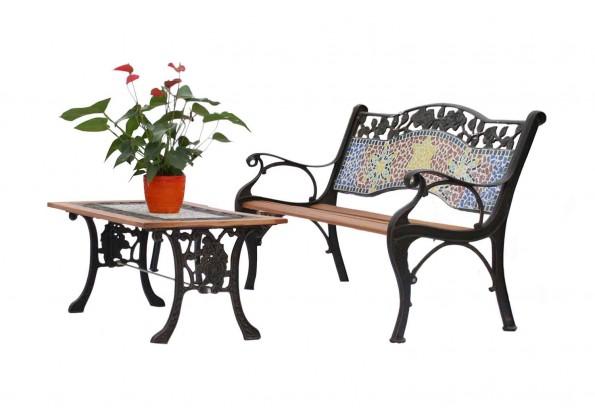 جلسة حديقة خارجية من الخشب والحديد