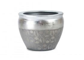 مركن بالون الفضي المنقوش برسومات مع حواف بالون الفضي