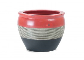 Pot With Mixed Black  Brown And Red Colors