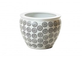 White Pot With Nice Engraves