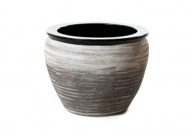Ceramic Pot Engraved With Dark Gray Color
