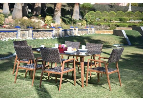 طاولة طعام حدائق من الراتان الصناعي لستة اشخاص