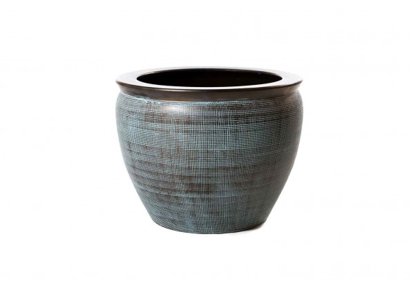 Brown Embossed Pot With Dark Brown Edges
