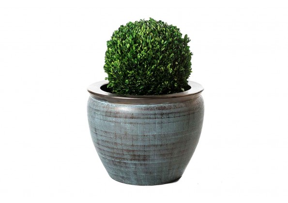 Brown Embossed Pot With Dark Brown Edges
