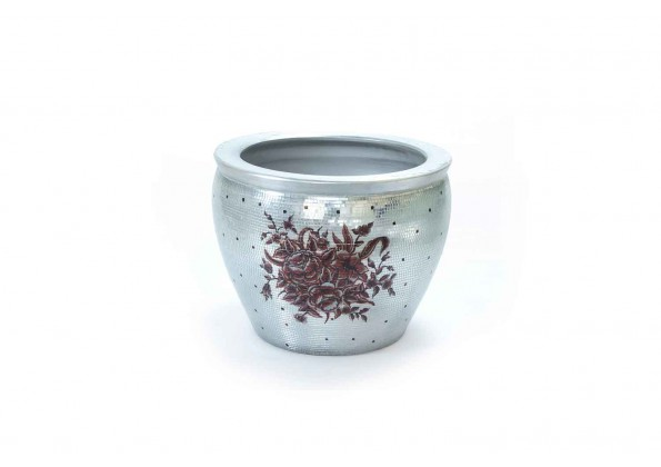 Inlaid Pot With Silver Pieces