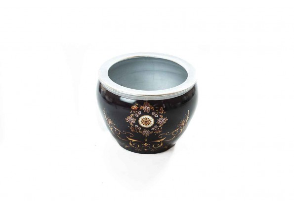 Black Embossed Pot With Silver Edges