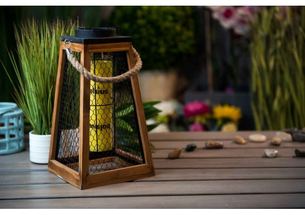 Wooden Candle Holder with Metal Sides