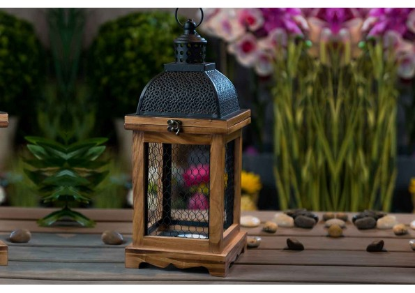 Wooden Candle Holder With Glass Facades