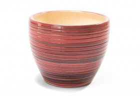Pot With Overlapping Red And Brown Color