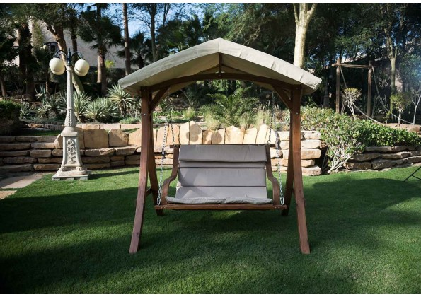 Wooden  Swing With A canopy