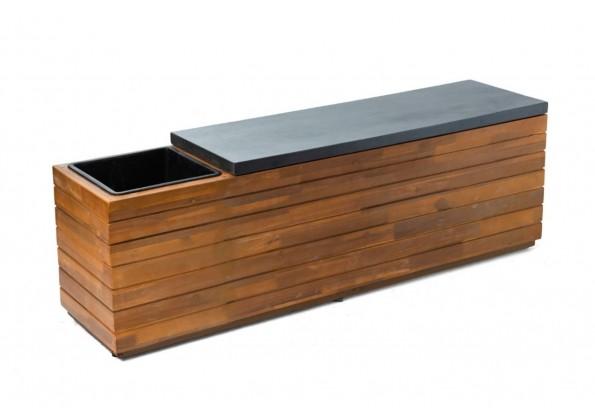 حوض مقعد خشبي