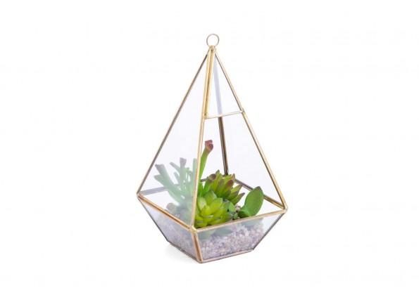 نباتات صناعية مع مركن زجاجي شكل هرمي