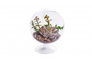 نباتات صناعية داخل مركن زجاجي دائري مع قاعدة