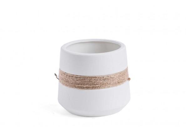 مركن صناعة يدوية من مادة الطين مع ديكور حبل بالوسط
