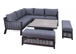 صوفا زاوية رمادي مناسب ل 5 أفراد مع طاولة وسط مربعة بالإضافة الى مقعدين جانبيين (بينش)