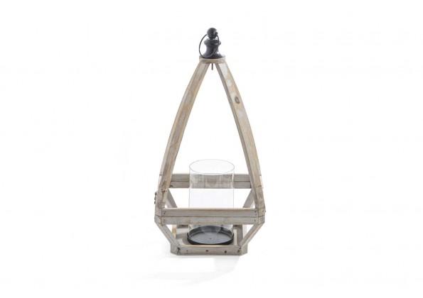 فانوس خشبي مثلث بمقبض معدني اسود