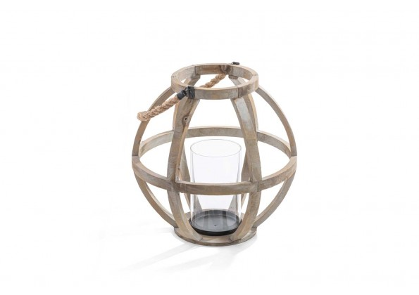 فانوس خشبي دائري بمقبض حبل